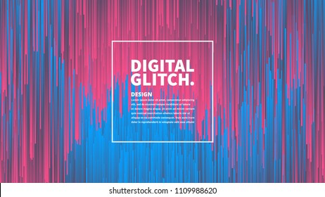 Digital Glitch Effect Vector Abstract Background. Dynamic Vivid Color Striped Conceptual Illustration