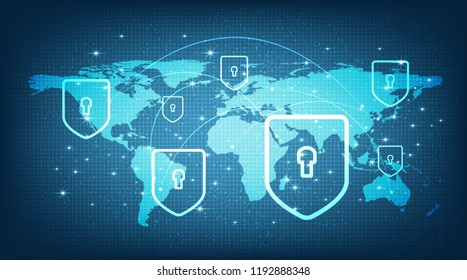 Digital Global Network System with Shield Security,protection and Safe Concept,Vector illustration.