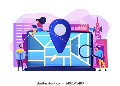Digital GPS application for smartphones. Geotag sign on city map. Local search optimization, search engine targeting, local SEO strategy concept. Bright vibrant violet vector isolated illustration
