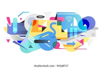 Digitaler Graffiti-Hintergrund.  Vektorgrafik.