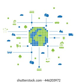 Digital and Green Eco Friendly World - Global Connections, Public Network Infrastructure - Design Concept with Icons - Vector Illustration, Technology Template