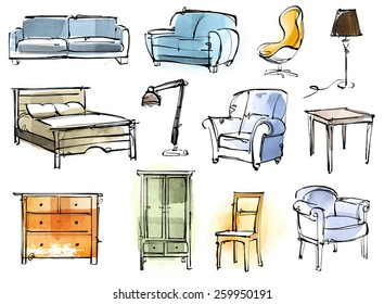 Digital and hand drawing furniture pieces, isolated on white background. Morphed to vector graphic.