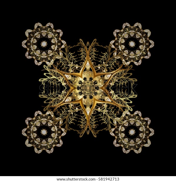 Digital hand drawn of element in the clean, whimsical and modern surface pattern on black background. Vector golden snowflakes and christmas winter pattern.