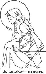 Digital hand drawn illustration or drawing of Virgin Mary