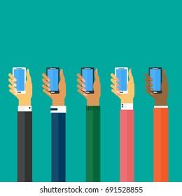 Digital Hands with modern smartphones Concept.