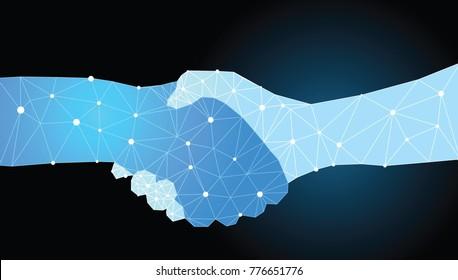 Digital handshake. hand shake made from abstract geometric lines