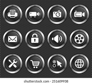 Digital Hardware and Internet Technology on Black Round Buttons