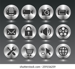 Digital Hardware and Internet Technology on Silver Round Buttons