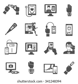 Digital health black icons set with medical diagnostics symbols isolated vector illustration