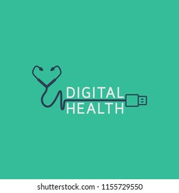 Digital health concepts logo icon design, vector illustration