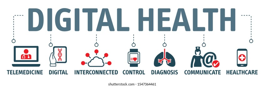 digital health, digital healthcar, electronic healthcare or e-health background vector illustration concept with icons and keywords