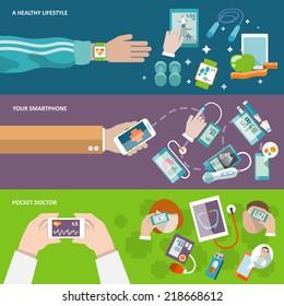 Digital health healthy lifestyle smartphone pocket doctor banner set isolated vector illustration
