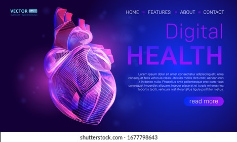 Digital health landing page background concept or hero banner design with human heart outline vector illustration. Medical healthcare website template for  Cardiology learning or artery clot therapy
