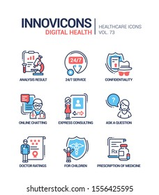 Digital health line design style icons set. Online medical consultation idea. Analysis result, 24 7 service, confidentiality, chatting, question, doctor ratings, for children, prescription of medicine