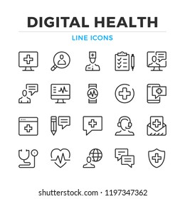 Digital health line icons set. Modern outline elements, graphic design concepts, simple symbols collection. Vector line icons
