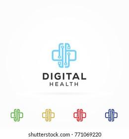 Digital Health Technology Logo Symbol