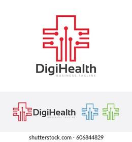Digital Health, Vector logo template