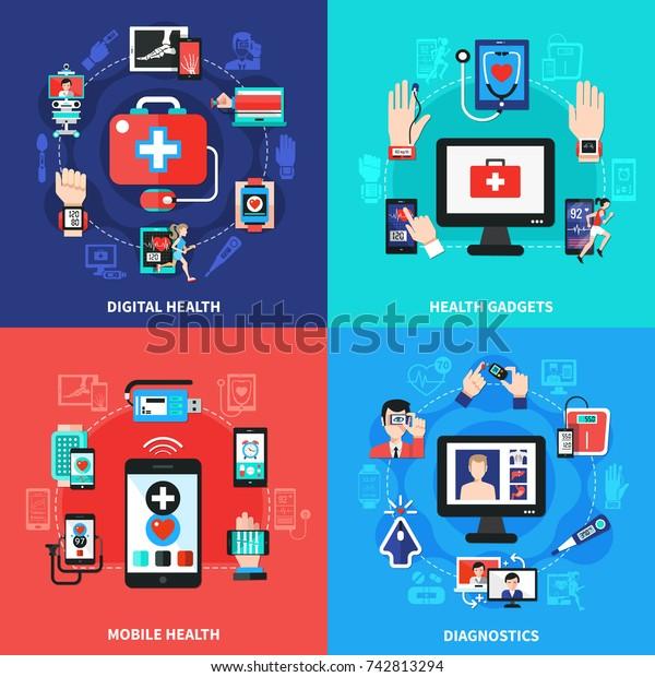 Digital Health Wearable Gadgets Blood Pressure Stock Vector