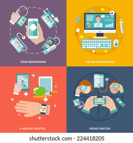 Digital health your smartphone online consultation healthy lifestyle pocket doctor icons flat set isolated vector illustration