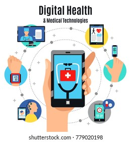 Digital healthcare solutions with electronic devices flat composition poster with mobile touchscreen phone medical apps vector illustration