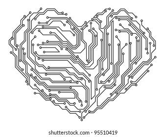 Digital heart in motherboard elements. Vector illustration