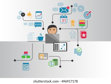Digital home office concept as vector illustration. Cartoon person in front of notebook working from home through internet