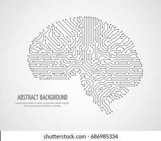 Digital human brain with computer circuit board. Electronic medicine technology vector concept. Electronic human brain technology illustration
