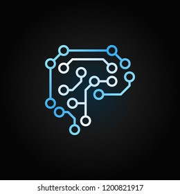 Digital Human Brain vector creative icon or symbol in outline style on dark background