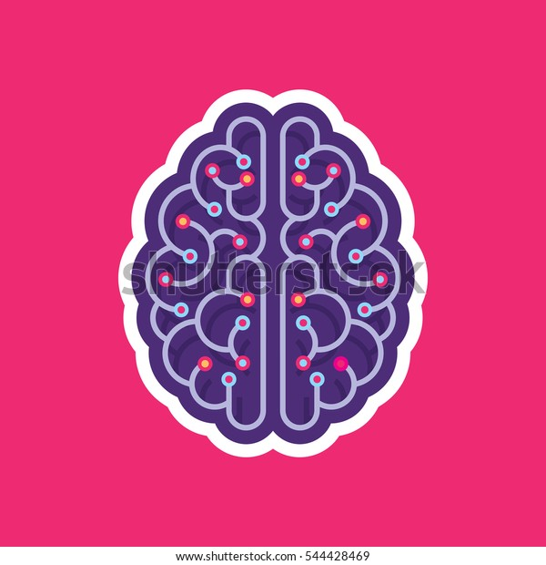 Digital human brain - vector logo concept illustration in flat style design. Mind sign. Future electronic structure technology creative symbol. Thinking education.