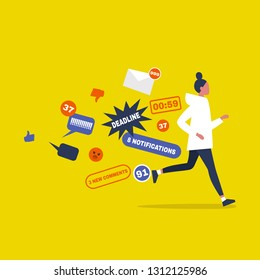 Digital hygiene. Stress. Female Character running away from the pop up notifications. Modern lifestyle. Overwhelming flow of information. Flat editable vector illustration, clip art