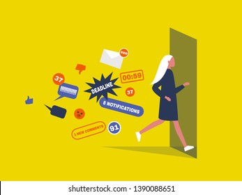Digital hygiene. Stress. Female Character running away from the pop up notifications through the doorway. Modern lifestyle. Overwhelming flow of information. Flat editable vector illustration