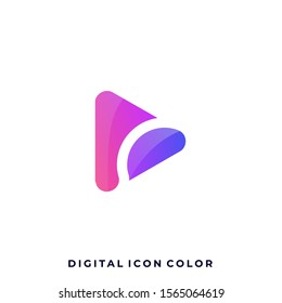 Digital Icon Play Colorful Illustration Vector Design Template. Suitable for Creative Industry, Multimedia, entertainment, Educations, Shop, and any related business