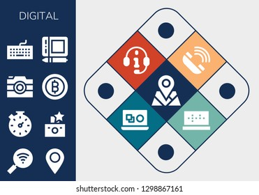 digital icon set. 13 filled digital icons. Simple modern icons about  - Placeholder, Wifi, Stopwatch, Flash, Camera, Bitcoin, Keyboard, Graphic tablet, Telephone, Headphones