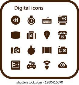 digital icon set. 16 filled digital icons. Simple modern icons about  - Rewind, Stopwatch, Keyboard, Photo camera, Screen, Bitcoin, Placeholder, Telephone, Camera, Panoramic