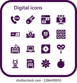 digital icon set. 16 filled digital icons. Simple modern icons about  - Telephone, Usb, Browser, Vector, Wifi, Projector, Influence, Tablets, Keyboard, Laptop, Cpu, Automaton