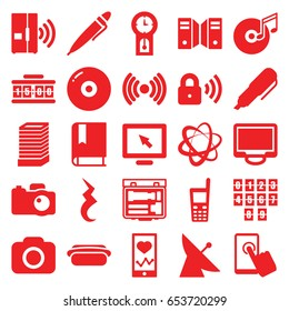 Digital icons set. set of 25 digital filled icons such as satellite, business center building, heartbeat on phone, display, old phone, pause, pen, disc and music note, camera