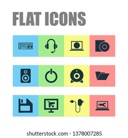 Digital icons set with charger, web camera, floppy disk and other web elements. Isolated vector illustration digital icons.