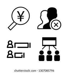 digital icons set with social media collaboration, user and user stats vector set