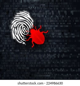 Digital Identity Theft Concept. Bug eating fingerprint on digital binary background