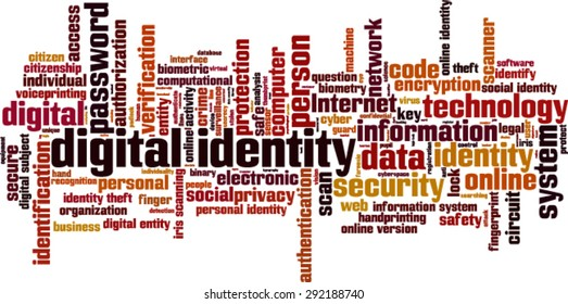 Digital identity word cloud concept. Vector illustration