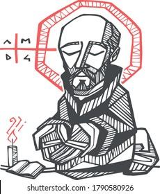 Digital illustration or drawing of  the Jesuit Saint Ignatius of Loyola
