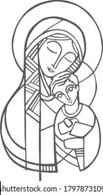Digital illustration or drawing of  the Virgin Mary and Jesus Christ as child
