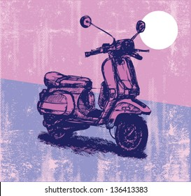 Digital illustration of an old-fashioned motor scooter