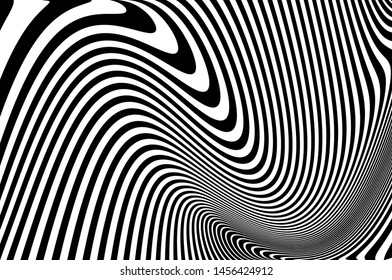 Digital image with a psychedelic stripes. Wave design black and white. Texture with wavy, curves lines. Optical art background. Vector illustration