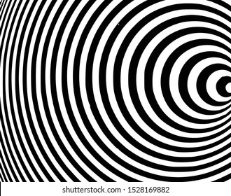 Digital image with a psychedelic stripes Wave design black and white. Optical art background. Texture with wavy, curves lines. Vector illustration