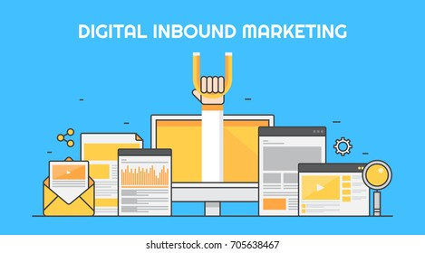 Digital inbound marketing, Internet, Business Strategy, SEO marketing flat line vector banner illustration isolated on blue background