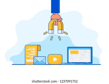 Digital inbound marketing. Vector ultraviolet illustration of attracting online customers.