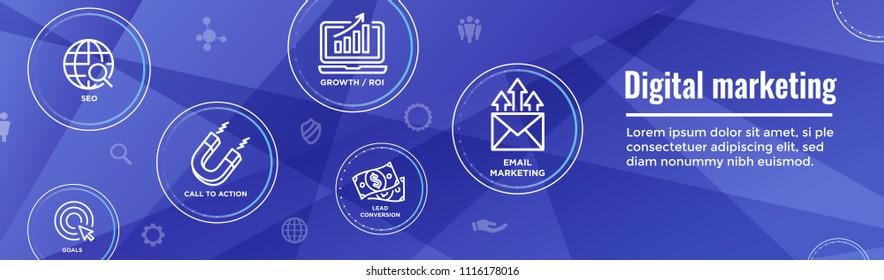 Digital Inbound Marketing Web Banner w Vector Icons & CTA, Growth, SEO, etc