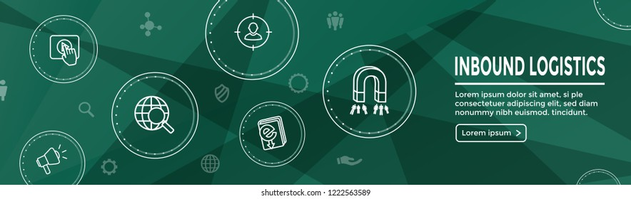 Digital Inbound Marketing Web Banner with Vector Icons - CTA, Growth, SEO, etc