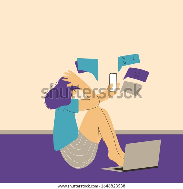 Digital information overload. Young female person sitting on the floor with mobile phone and suffering from cyberbullying. Teenage girl reading text messages and get too much social media information